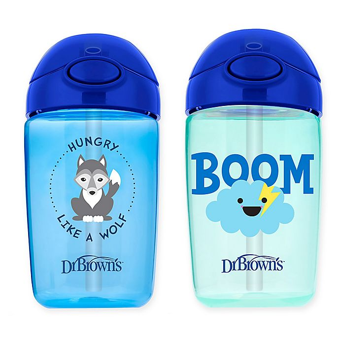 Alternate image 1 for Dr. Brown's® Milestones™ 2-Pack 12 oz. Straw Sippy Cups with Lid in Blue