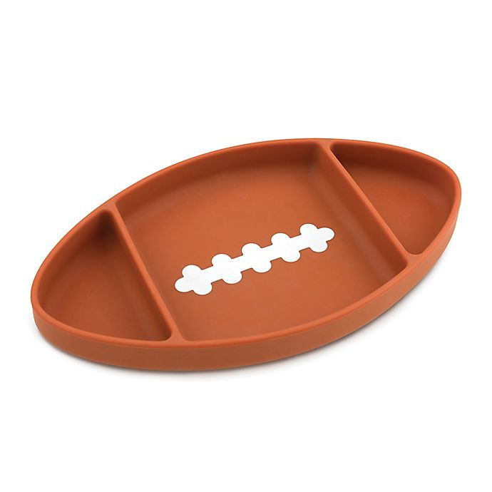 Alternate image 1 for Bumkins® Football Silicone Grip Dish in Brown