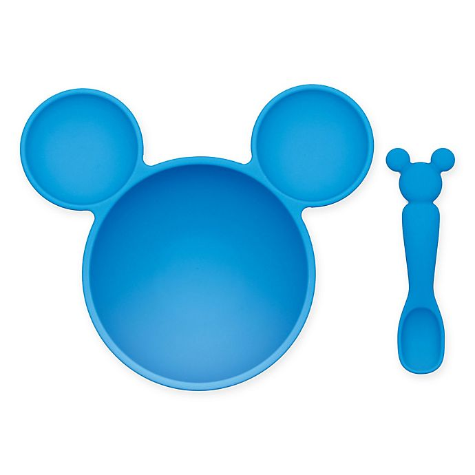 Alternate image 1 for Bumkins® Disney® Mickey Mouse Bowl and Spoon Feeding Set in Blue