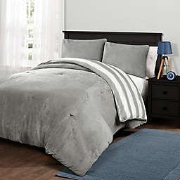 Plush Stripe Twin XL Comforter Set in Grey