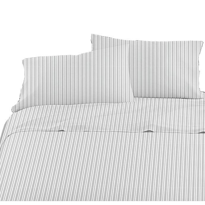 Alternate image 1 for American Kids Ticking Stripe Twin Sheet Set in Grey