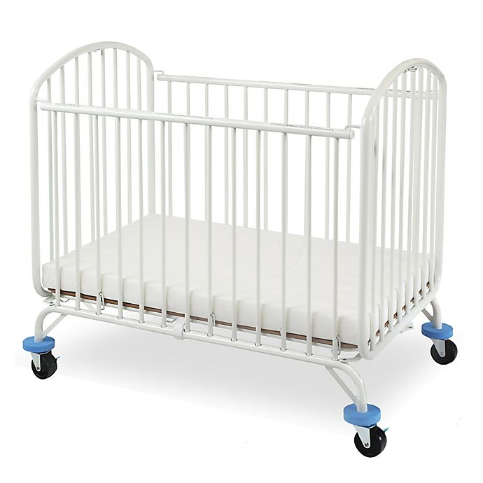 Alternate image 1 for LA Baby® Folding Arched Portable Metal Crib in White