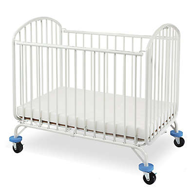 LA Baby® Folding Arched Portable Metal Crib in White
