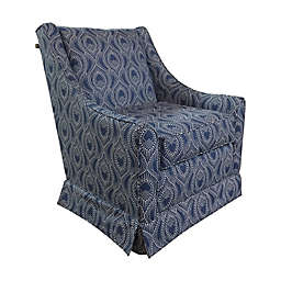 The 1st Chair™ Darcy Swivel Glider Chair in Royal Blue Ikat