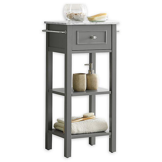 Alternate image 1 for Carrara Marble Top Floor Cabinet in Grey