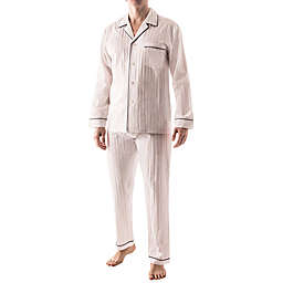 Majestic International Signature Sateen Stripe Men's Pajama Set in White