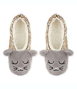 Pantuflas afelpadas de lentejuela Capelli New York Cat medianas/grandes en gris