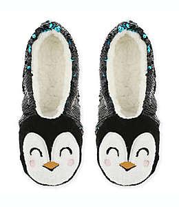 Pantuflas afelpadas de lentejuela Capelli New York Penguin chicas/medianas en negro