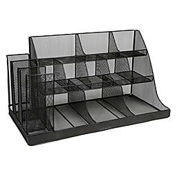 Mind Reader 3-Tier 14-Compartment Break Room Metal Mesh Organizer in Black