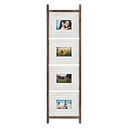 Kate and Laurel Trescoe 4-Photo Collage Wall Frame in Brown/White
