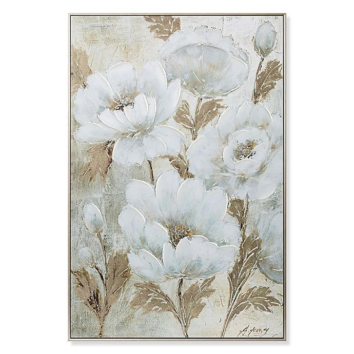 Elegant Florals Canvas Wall Art In White Gold Bed Bath