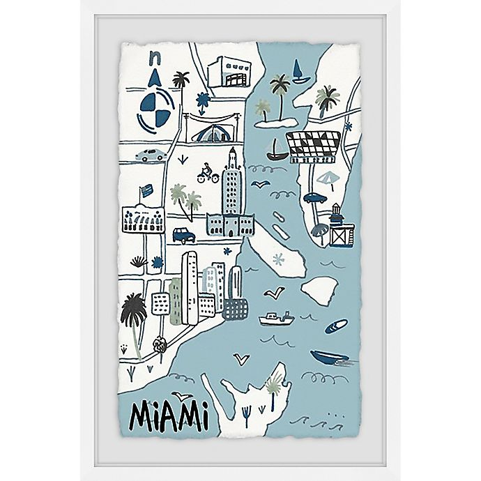 Alternate image 1 for Marmont Hill Miami Landmarks 16-Inch x 24-Inch Framed Wall Art