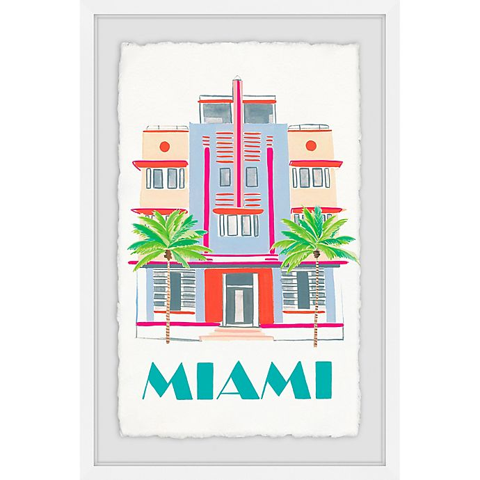 Alternate image 1 for Marmont Hill Miami Art Deco 24-Inch x 16-Inch Framed Wall Art