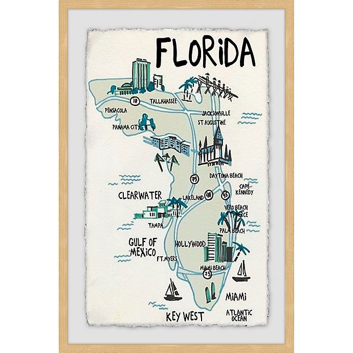 Alternate image 1 for Marmont Hill Landmarks in Florida 12-Inch x 18-Inch Framed Wall Art