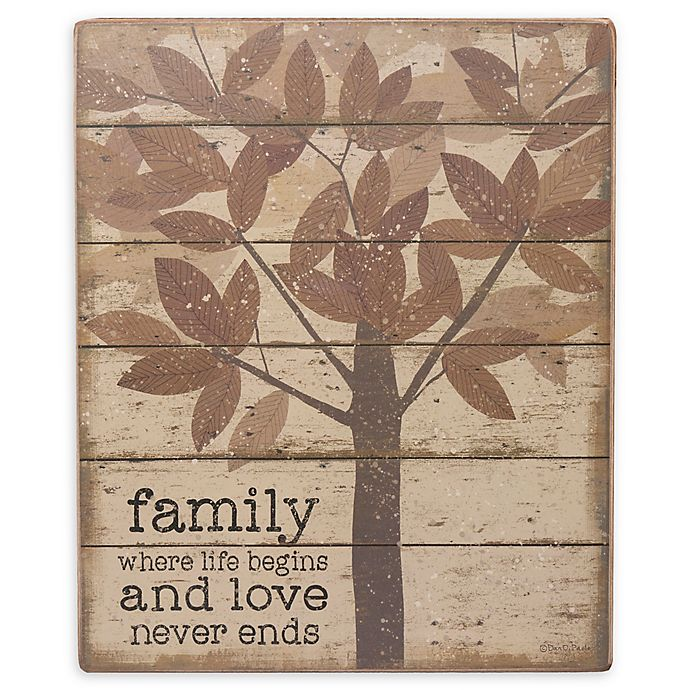 Alternate image 1 for Primitives By Kathy® Family Where Life 10-Inch x 12-Inch Wood Wall Art in Brown