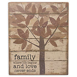 Primitives By Kathy® Family Where Life 10-Inch x 12-Inch Wood Wall Art in Brown
