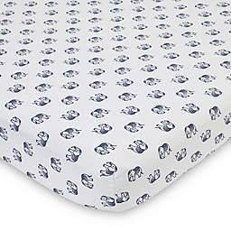 NoJo® Serendipity Mix and Match Elephant Fitted Crib Sheet in Navy