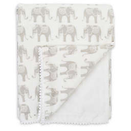 NoJo® Serendipity Mix and Match Velboa Elephant Print Blanket in Ivory
