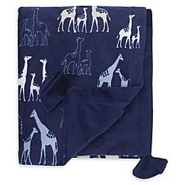 NoJo® Serendipity Mix and Match Velboa Giraffe Print Blanket in Navy