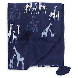 NoJo® Serendipity Mix and Match Velboa Giraffe Print Blanket in Navy