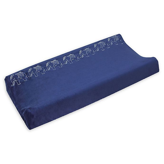 Alternate image 1 for NoJo® Serendipity Mix and Match Elephant Velboa Changing Pad Cover in Navy