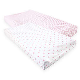 Luvable Friends® Chevron & Dots Changing Pad Covers in Pink (Set of 2)
