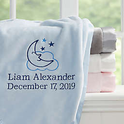 Moon & Stars Embroidered Baby Boy Blanket