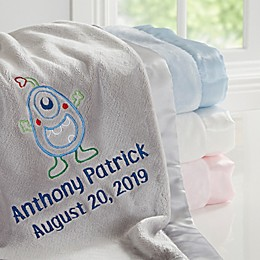 Monster Embroidered Baby Blanket