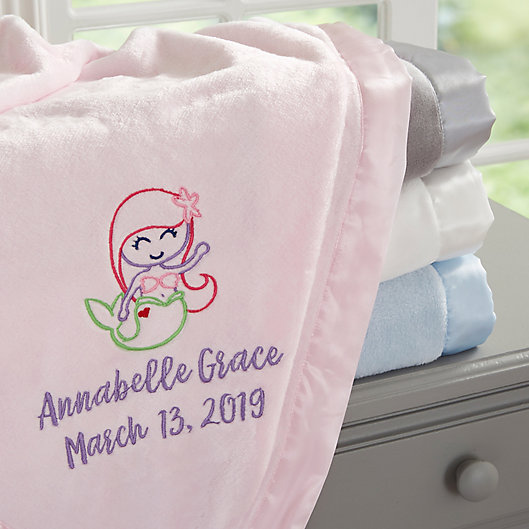 Alternate image 1 for Mermaid Embroidered Baby Blanket