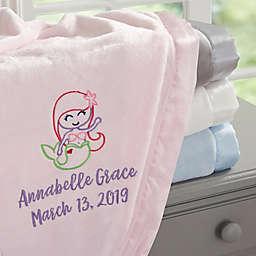 Mermaid Embroidered Baby Blanket