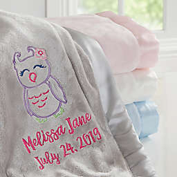 Owl Embroidered Baby Blanket