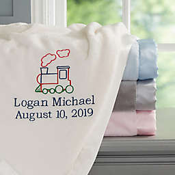 Choo Choo Train Embroidered Baby Blanket