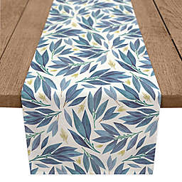 Designs Direct Floral Leaves Table Runner in Blue