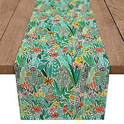 Designs Direct Jungle Floral Table Runner in Teal