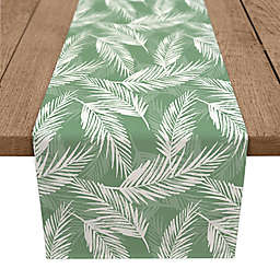 Designs Direct Palm Pattern Table Runner in White/Green