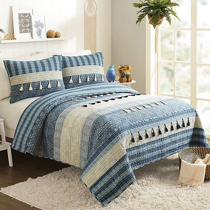 Alternate image 1 for Jax Horizontal Channel Twin Quilt in Blue