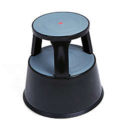 Mind Reader Tall Rolling Double Step Stool in Black