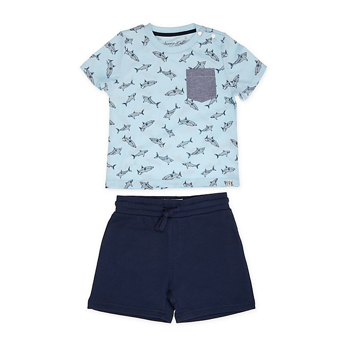 Alternate image 1 for Sovereign Code® Size 24M 2-Piece Alburn Tee and Short Set in Blue/Navy