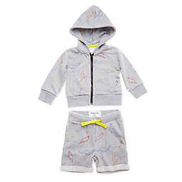 Sovereign Code® Size 3M 2-Piece Dino Zip-Up Hoodie and Short Set in Heather Grey