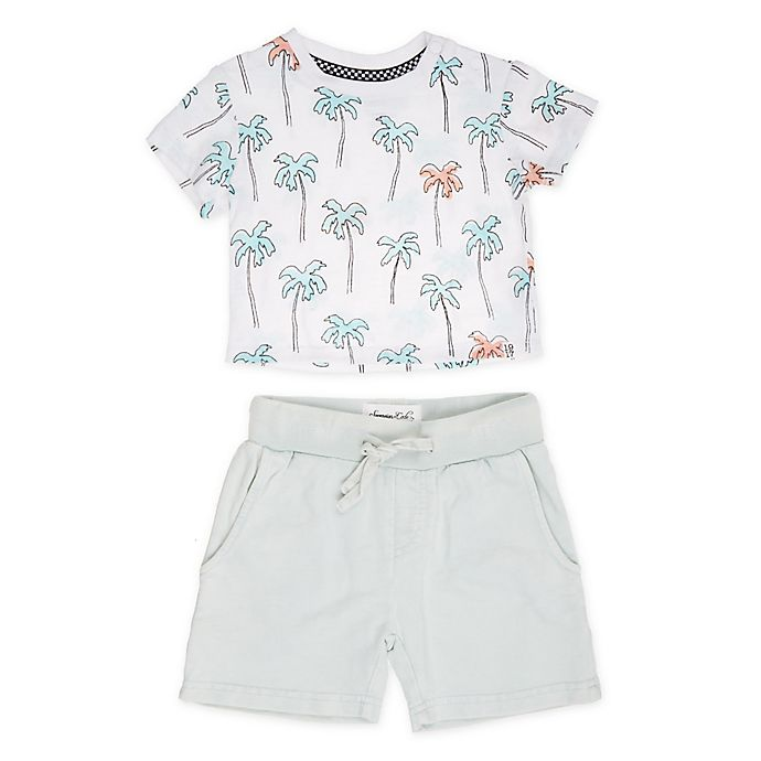 Alternate image 1 for Sovereign Code® 2-Piece Palms Shirt and Short Set in White/Mint