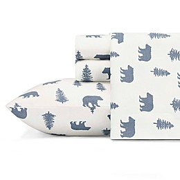 Eddie Bauer® Bears and Trees Flannel Sheet Set in Blue