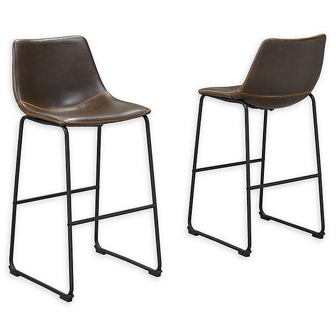Faux Leather 26 Inch Bar Stools Set Of 2 Bed Bath And Beyond Canada