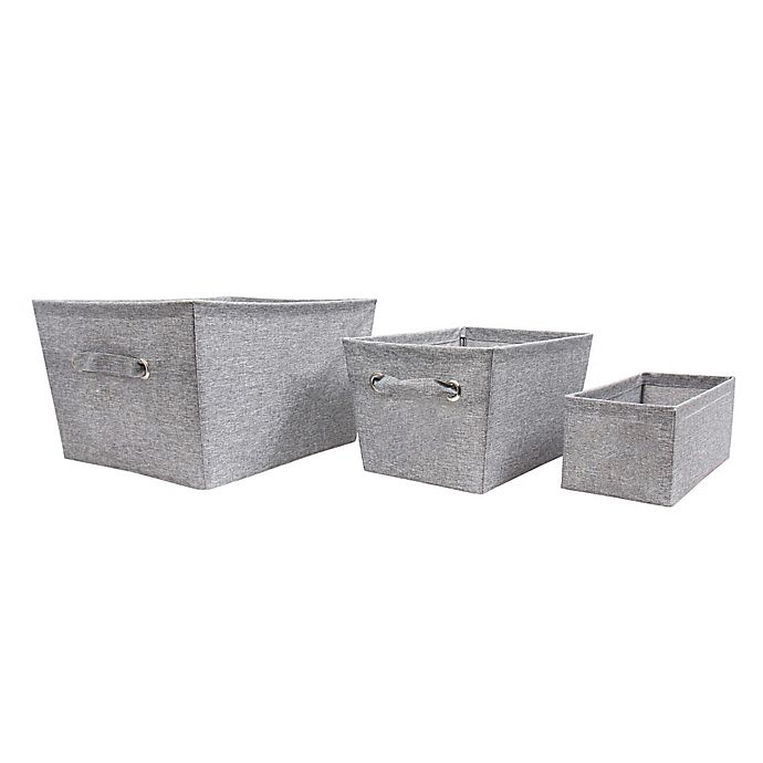 Alternate image 1 for SALT™ Textured Canvas Storage Bin in Grey