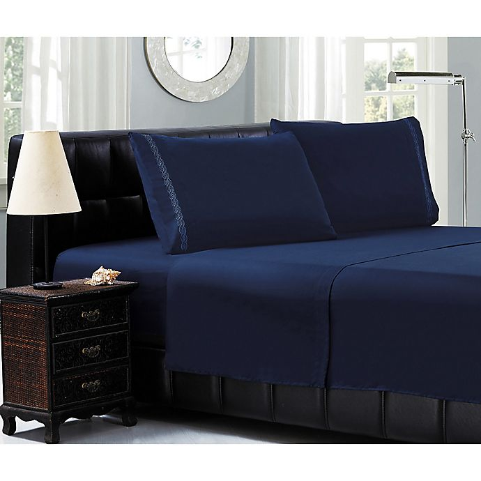 Alternate image 1 for Elegant Comfort™ Chain Embroidered Microfiber Twin Sheet Set in Navy