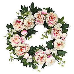 Puleo International 22-Inch Artificial Pink Peony Wreath