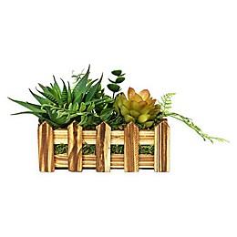 Puleo International Artificial Succulent Arrangement in Wooden Planter