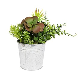 Puleo International Artificial Succulent Arrangement in Metal Pot