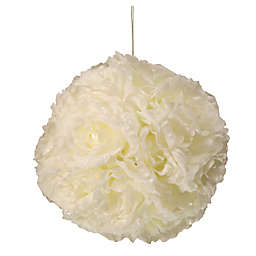 National Tree Company 9-Inch White Rose Hanging Ball