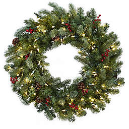 Nearly Natural 30-Inch Pre-Lit Pine Cone Wreath