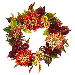 Nearly Natural 22-Inch Dahlia and Mum Wreath